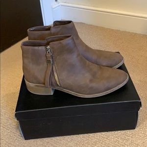 Expression brown booties with zipper (Size 8.5)
